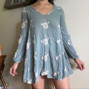 FREE PEOPLE EMBROIDERED AUSTIN MISTY GREEN DRESS